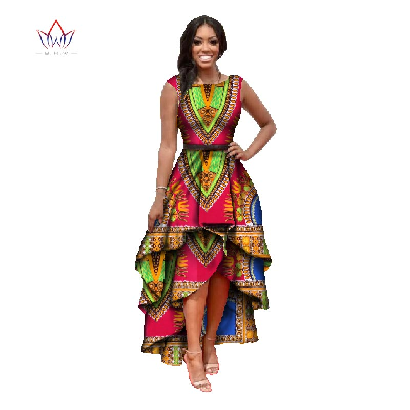 african clothes for women  o-neck african dashiki dresses cotton dress sleeveless african print dress big size natural 4xl WY447