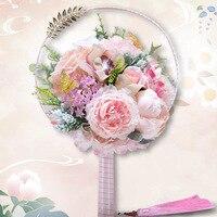 Романтический розовый Искусственные Свадебные цветы Букеты 2019 со стразами Свадебный букет вентилятор Свадебные аксессуары де mariage