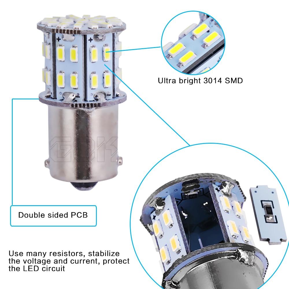 50 шт. S25 BA15S BAY15D 1157 1156 50LED 3014 SMD 1156 светодиодный тормозной Включение световой сигнал резервная копия хвост огни