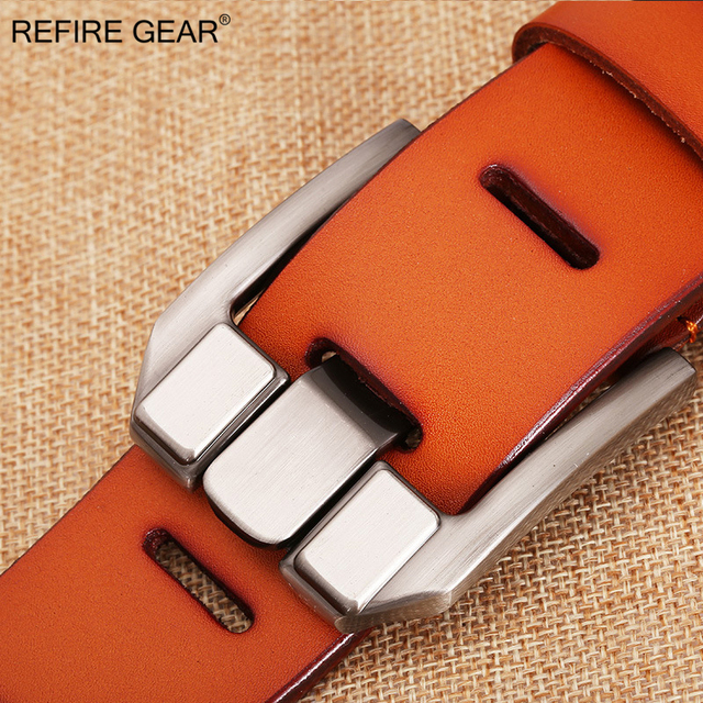 Luxury Vintage Style Genuine Leather Pin Buckle Belt For Men. Available Colors -Black, Brown, Orange and Coffee