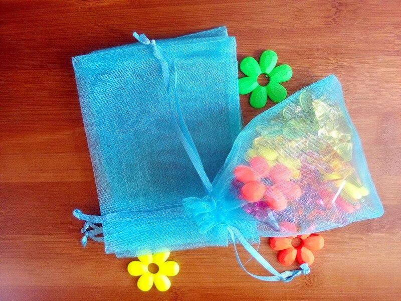889331d5f 50 unids 20*30 cm lago Azul bolso del regalo del organza bolsos de la  exhibición de empaquetado de la joyería lazo para las pulseras/ collar mini  Hilado ...
