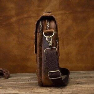 "Image 2 - Quality Leather Male Casual Design Shoulder Messenger bag Cowhide Fashion Cross body Bag 8"" Tablet Tote Mochila Satchel bag 152"