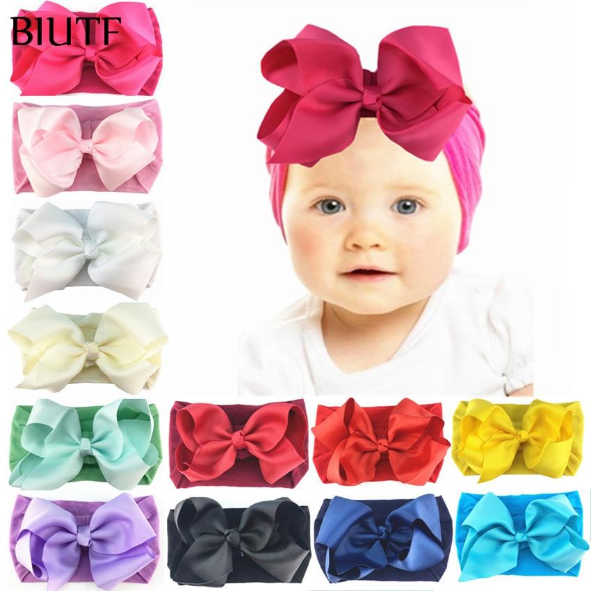 1 шт./лот, широкая эластичная нейлоновая повязка на голову для девочек, повязка на голову с 5 дюймовым бантиком для волос, Детские реквизиты д...