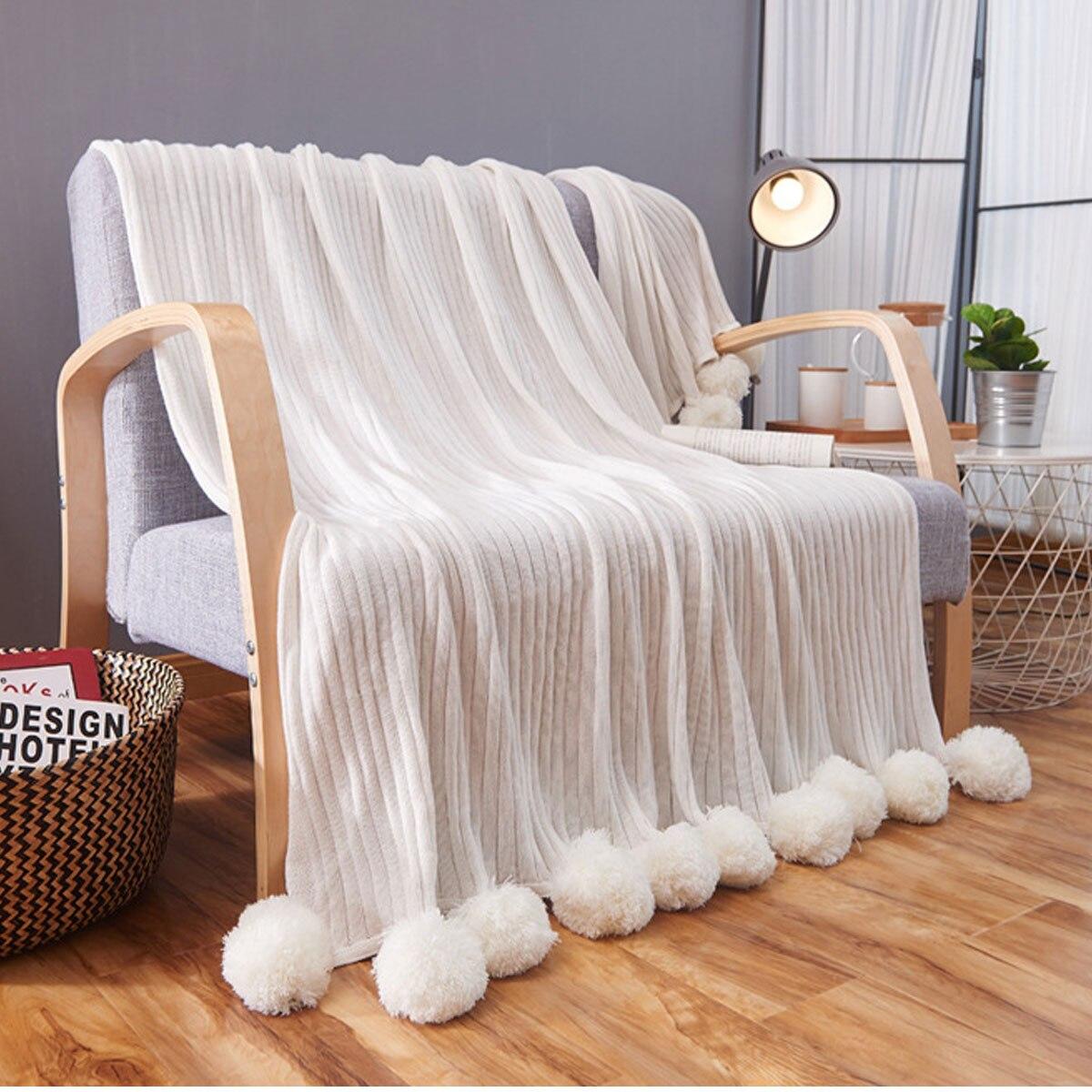 Solide Kwaliteit Katoen Pom Haak Draad Deken Voor Baby Volwassenen Twin Size Bed Gebreide Gooit Bed Sofa Thuis Decor 100x105 Cm