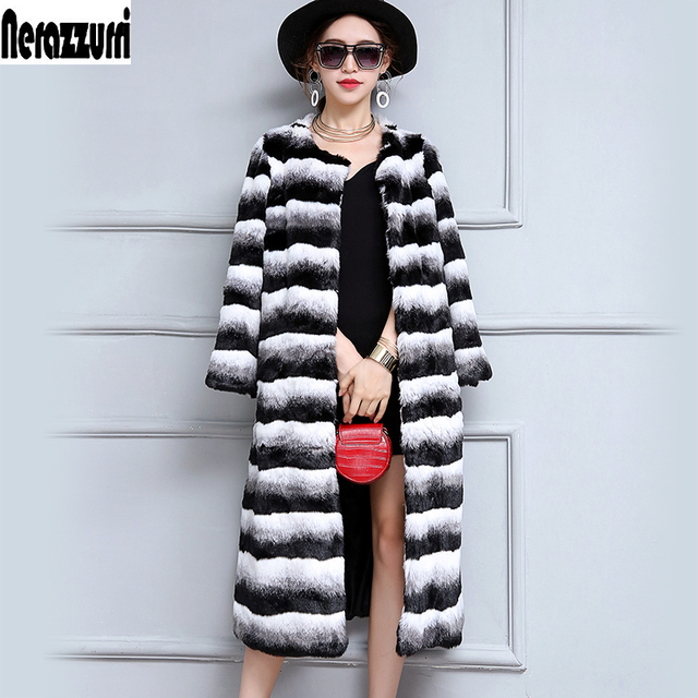 Nerazzurri Chinchilla Fur Coat Gradual Color Winter Warm Long Colorful Fluffy plus Size Faux Fur outwear 5xl 6xl High Quality