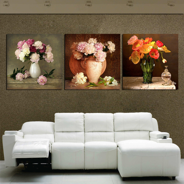 Canvas HD Prints Pictures Living Room Decor 3 Pieces Elegant Hibiscus Peony Flowers Paintings Modular Posters Wall Art No Framed