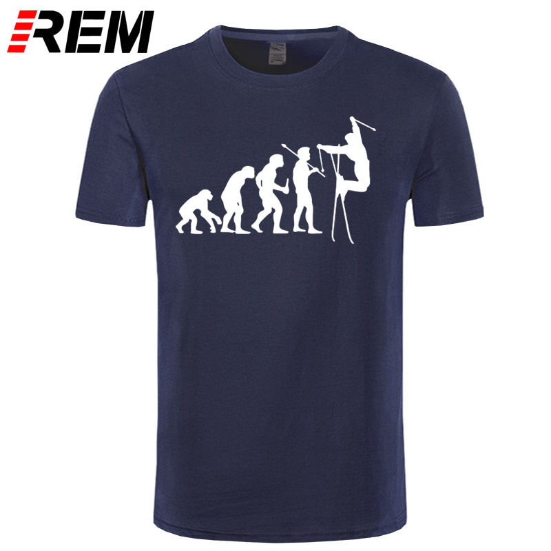 REM Cross-country Ski Evolution Funny Nordic Skiing T-shirt 2019 Top Quality Tees Summer Men's Fashion T Shirt Cheap Wholesale