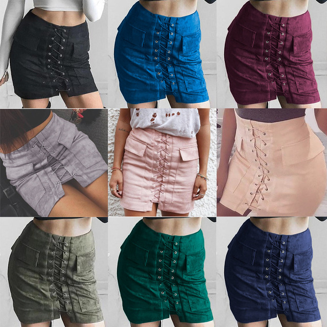 9f2aac39d Women Lace Up Faux Suede Leather skirt Apparel Autumn Vintage Bandage  Pocket Preppy Short Tight High Waist Midi Pencil Skirt