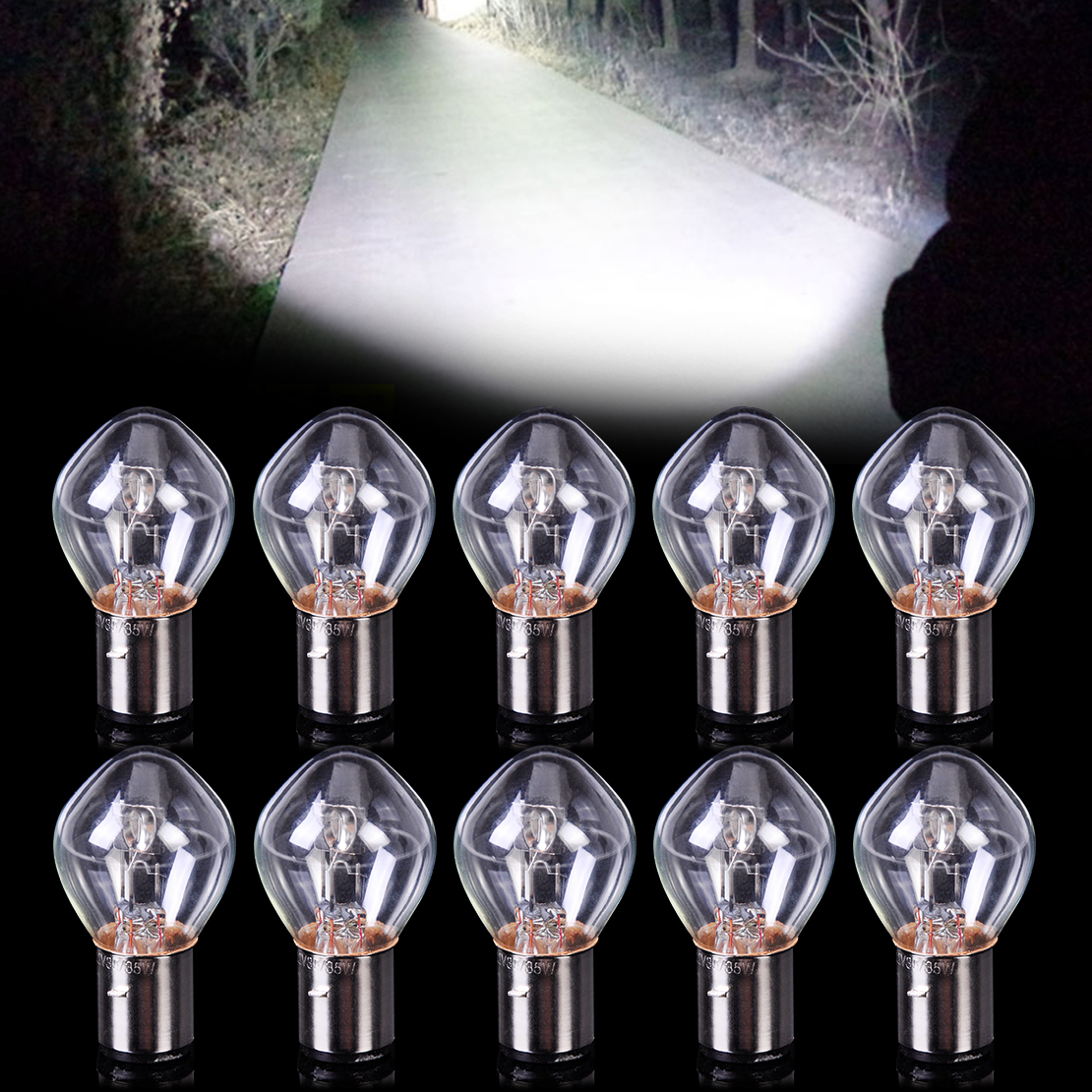 CITALL 10pcs Motorcycle Head Light Headlight Bulb 12V 35W B35 BA20D fit for Chinese GY6 Scooter Moped ATV