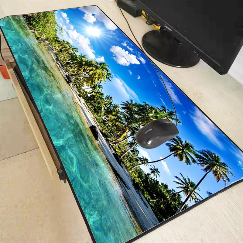 Mairuige Palm Trees Beach Blue Sky Clouds Large Mouse Pad Gaming Mousepad Natural Rubber Gaming Mouse Mat with Lock Edge 90X40CM