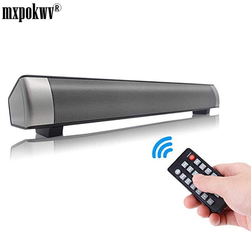 Nouveau TV Barre De Son Haut-Parleur Télécommande Bluetooth Louderspeaker Super Double Basse 2X5 w Accueil Mur TV Haut-Parleur Avec micro TF Carte Jouer
