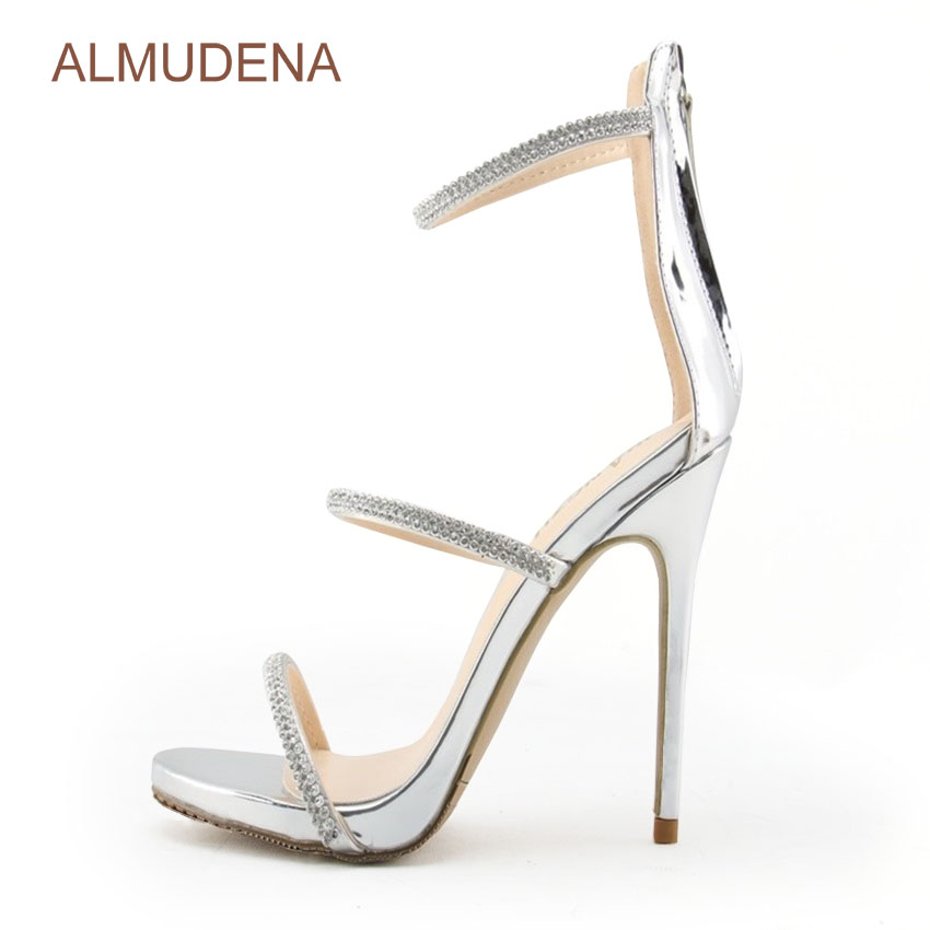 ALMUDENA Top Brand Crystal Sandals Silver Black Bling Bling Rhinestone Dress Shoes Sexy Stiletto Heel Triple Straps Wedding Pump