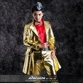 Новая Мода мужская С Длинным Золото Кожаные Куртки Мужской сценическое Шоу DS костюм пиджаки Nightbar певица танцор производительность пальто