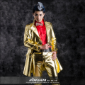 New Fashion Men's Long  Gold Leather Jacket Male stage Show DS costume outwear Nightbar singer dancer performance coat