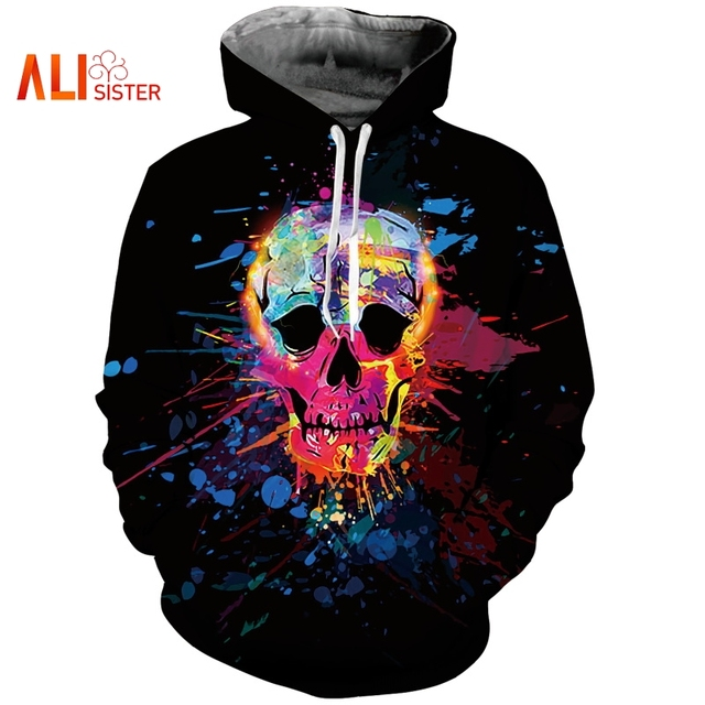 Alisister 2019 3D Painted Colorful Skull Hoodies Sweatshirt Casual Pullovers Skeleton Unisex Tops Hip Hop Sportswear Tracksuit