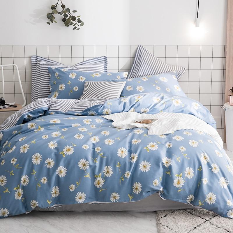 Modern Style Blue Print Pattern 100% Cotton Soft 3/4Pc Comforter Bedding Sets Duvet Cover Set Winter Bed Sheet Pillowcase 2 SizeModern Style Blue Print Pattern 100% Cotton Soft 3/4Pc Comforter Bedding Sets Duvet Cover Set Winter Bed Sheet Pillowcase 2 Size