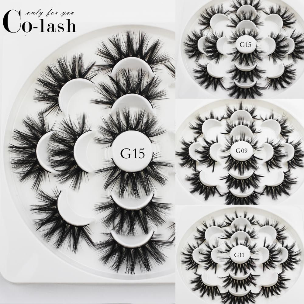 Colash 7 Pairs 3D Mink Hair False Eyelashes Wispy Cross Fluffy 22mm-25mm Lashes Extension Handmade Eye Makeup Tools