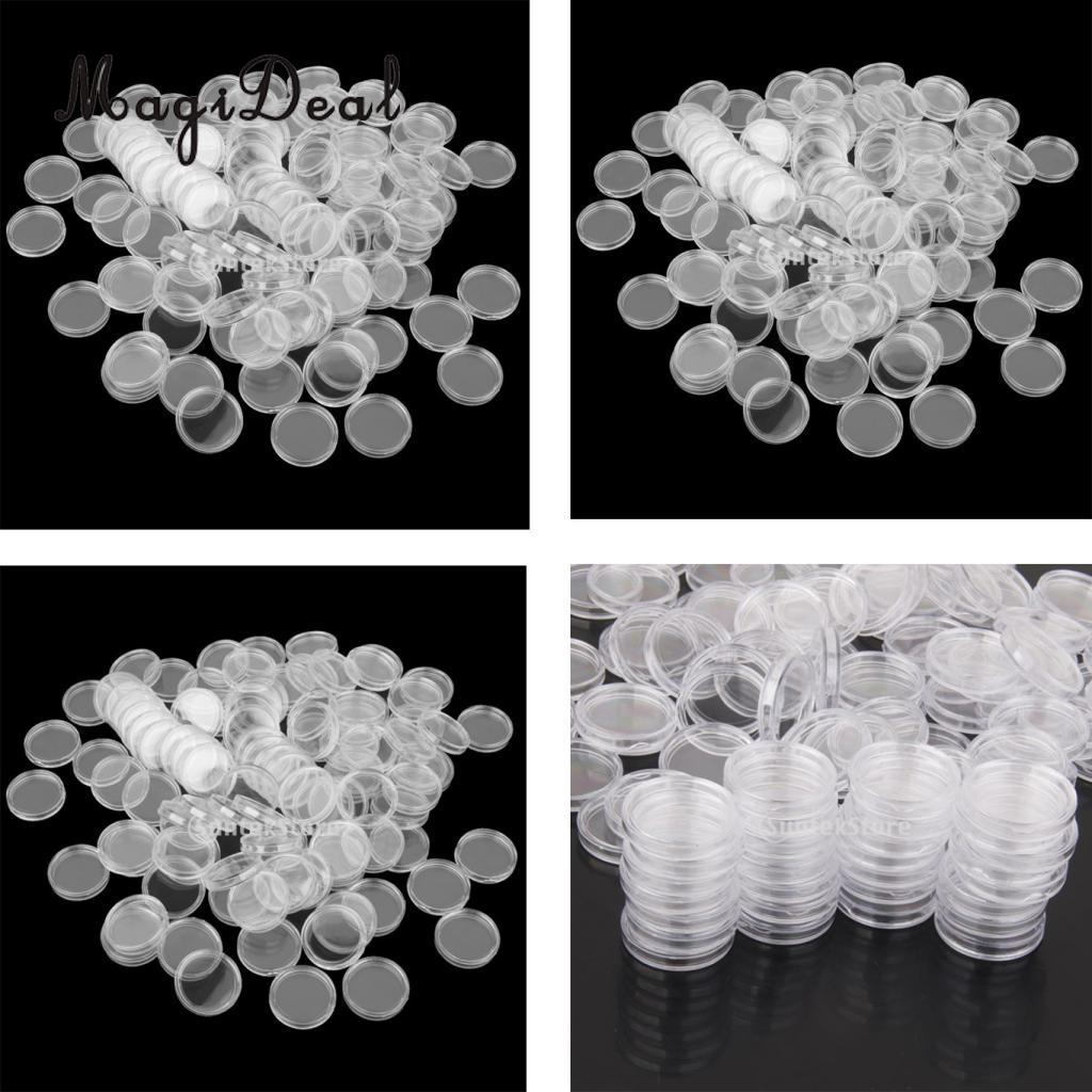 MagiDeal 300PCS Clear Round Boxed Coin Holder Container Plastic Capsules Coin Box Display Cases 26mm 32mm Mixed Size