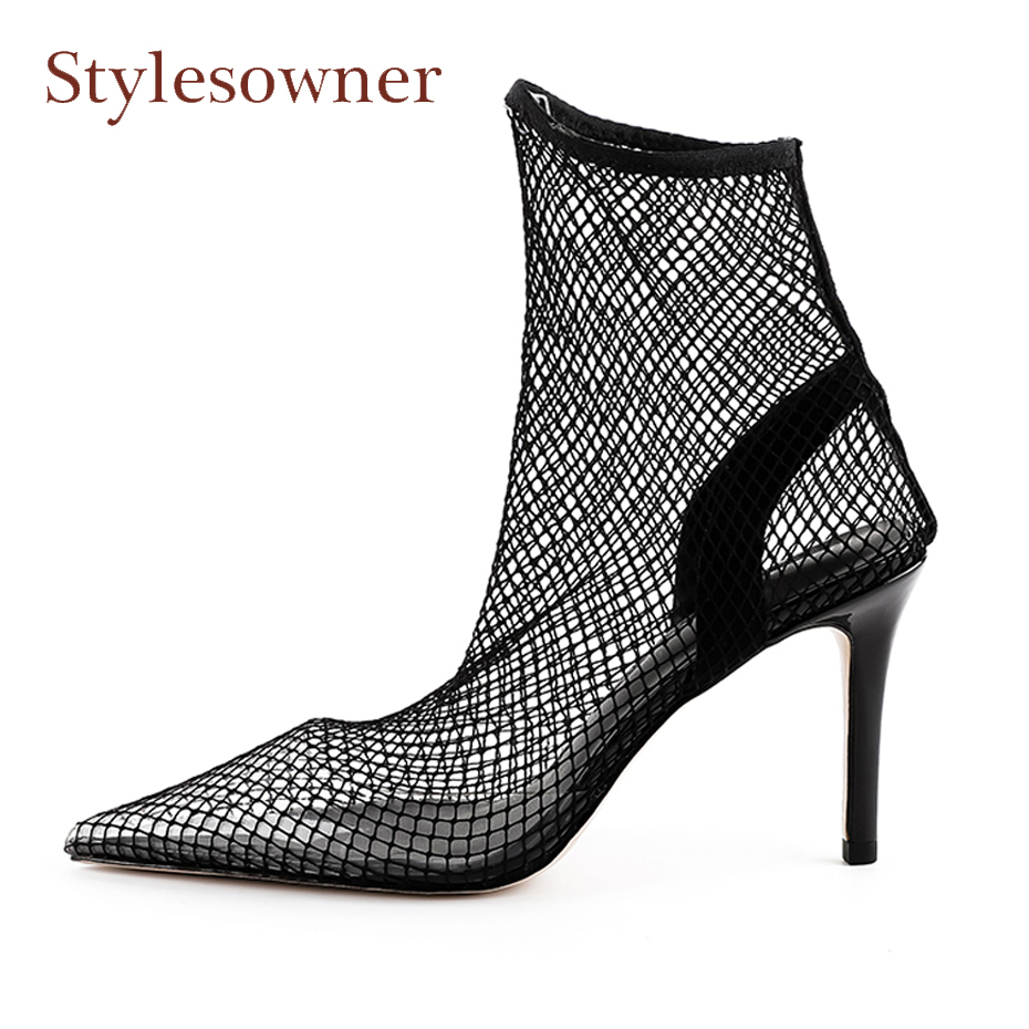 Stylesowner new women sandals sexy fishnet stocking pointed toe thin high heel women pumps breatherable hollow party dress shoes high rise fishnet panel bikini