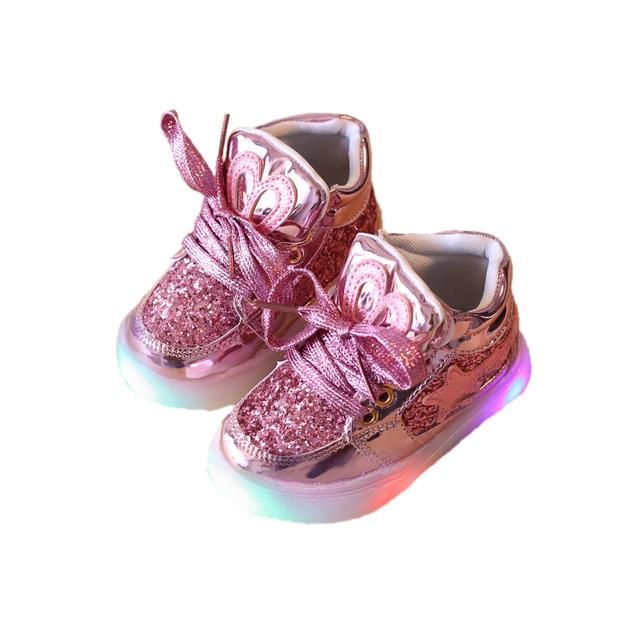 Lindo bebé niños zapatos causales encantadora mickey estilo iluminado flash niño para 1-3yrs niños infantil chicos chicas zapatos al aire libre