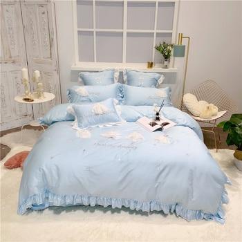 Luxury Egypt Cotton Elegant Waltz Bedding Set Yarn skirt Ruffles Duvet Cover Sets Bed Sheet Twin Queen King size 4/6/7Pcs