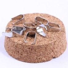 Onwear 100 pcs 10x5mm fiança pitada de aço inoxidável colar de pingente diy achados conector