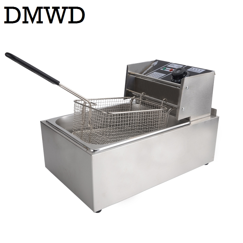 DMWD Elettrico Friggitrice Multifunzione In Acciaio Inox Commerciale Grill del Forno di Pollo Patatine Fritte Macchina Olio per Friggere Piatto Caldo 6L