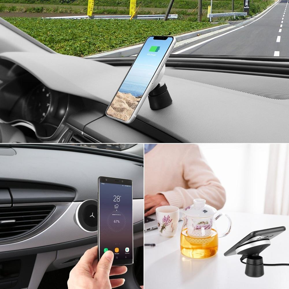 Image 5 - 10W 360 Degree Rotation Car Wireless Charger For iPhone Xs Max X Samsung S10 S9 Suntaiho Qi Wirless Charging Magnetic Car Holder-in Car Chargers from Cellphones & Telecommunications
