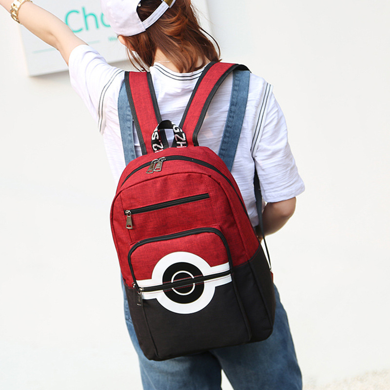 Anime Pokemon Nylon Waterproof Laptop Backpack Pocket Monster Double-shoulder Bag Poke Ball School Bag Novelty & Special Use Costume Props