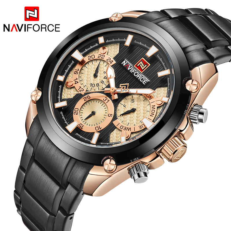 <font><b>NAVIFORCE</b></font> Man Fashion Waterproof Quartz Watch Men Military Stainless Steel Sports Watches Man Casual Clock Relogio Masculino image