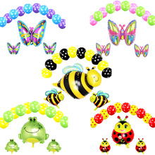 13Pcs/set Bee Foil Balloons Black Yellow Polka Dot Latex Globos miraculous ladybug Pet Animal baloons Birthday Party Decoration