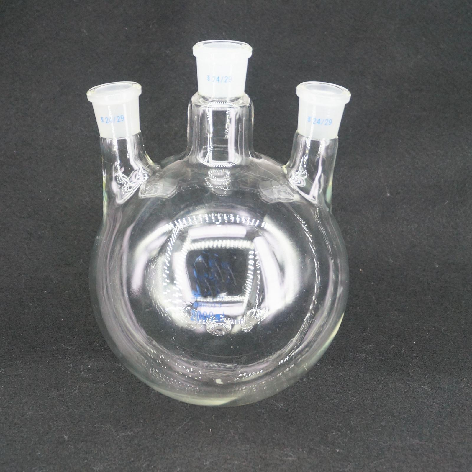 2000ml Laboratory Borosilicate Glass 24/29 Joint Glass Flask round bottom with Vertical 3-Neck цена