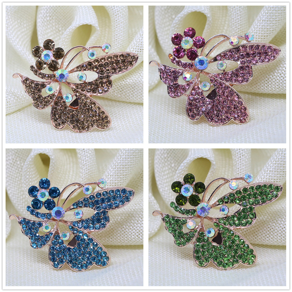 Trendy design butterfly rose gold plated pins 8 colors rhinestone brooch crystal unique clothes weddings jewelry L