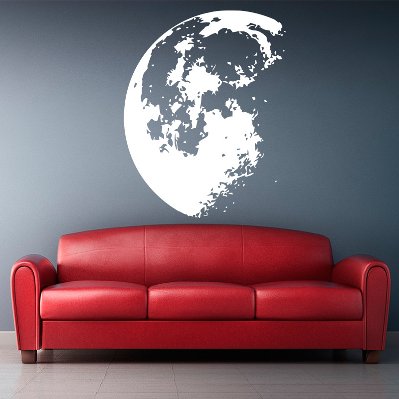 Design nou Outer Space Luna Wall autocolant Decoratiuni interioare Decorative moderne de perete de vinil decalcibile decoratiuni interioare de arta murale gratuite de transport maritim