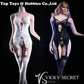1/6 sexy girl figure clothing 18XG29 Black/White Sling Stockings Underwear Clothe For 12'' TBLeague large bust Seamless Body