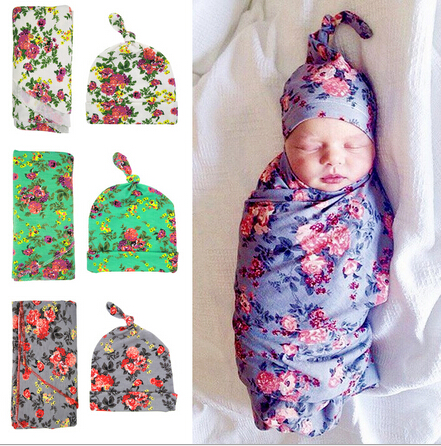 Baby Swaddle Blanket Set with Knot Top Hat Newborn Shower Gift Floral Parrern Hospital waddle set with cap Photography props newborn baby photography props infant knit crochet costume peacock photo prop costume headband hat clothes set baby shower gift