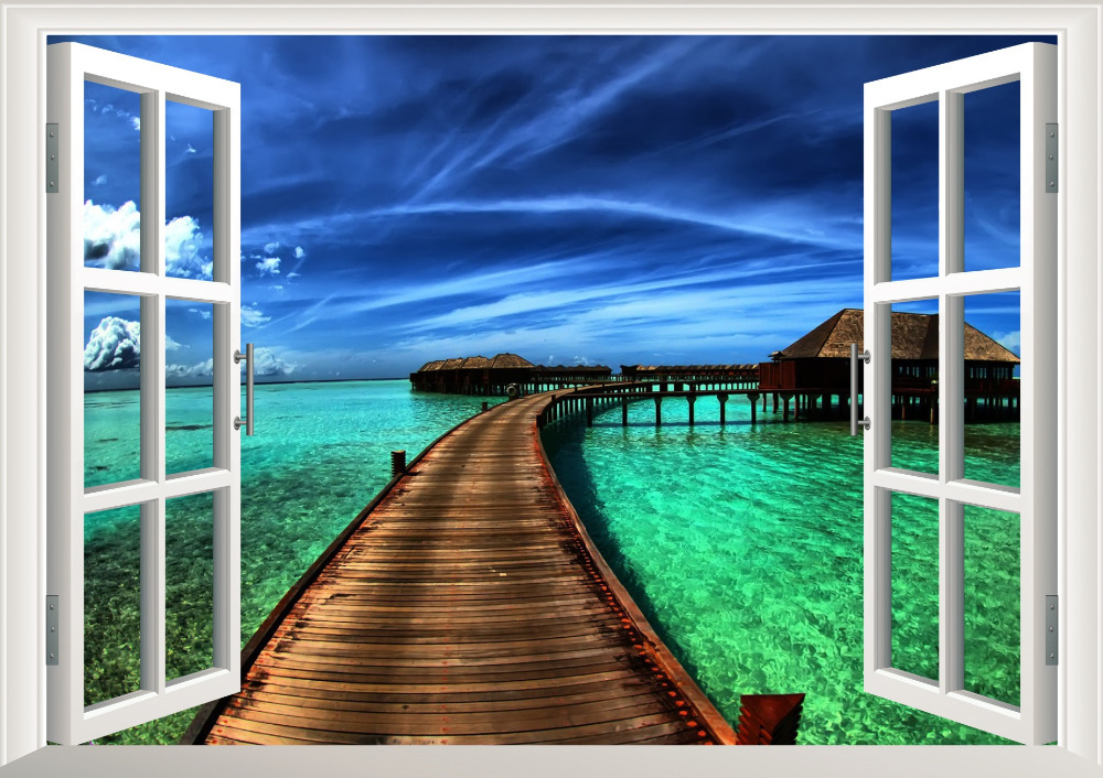 Natural Scenery Bridge Sea 3D Window Wall Stickers For Home Decorations View Living Room Bedroom Wall Decor Pvc Mural Art Decals