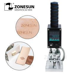 ZONESUN 5*7 см ручка электрический утюг резец с отметкой Mark Позолоченный кожаный деревянный бумажный ящик книга брендинг машина тиснение машина