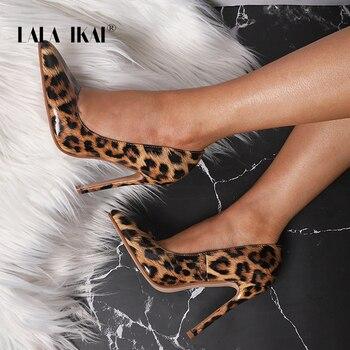 LALA IKAI tacones altos mujeres zapatos de leopardo PU puntiagudos Oficina señora Sexy 12 cm boda chussures Femme 014C3262 -4