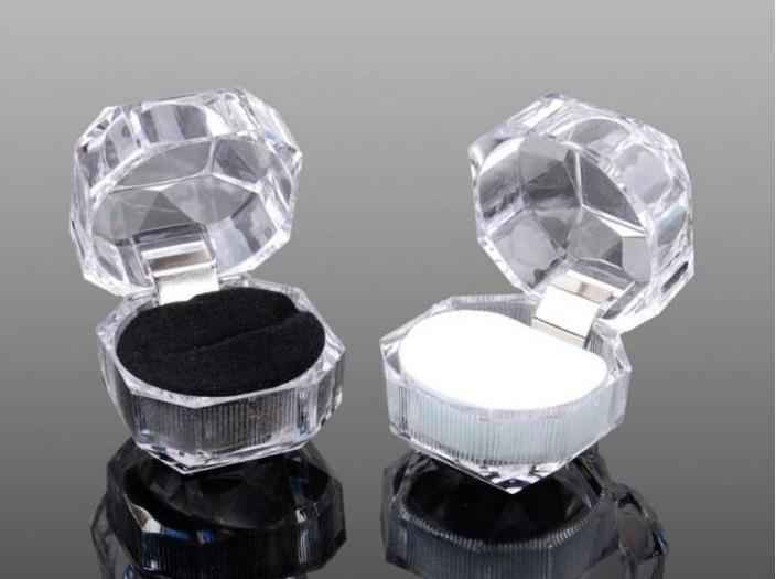 Boxes Acrylic Jewelry Wedding-Gift-Box Clear SN1056 Ring Stud Dust-Plug Cheap