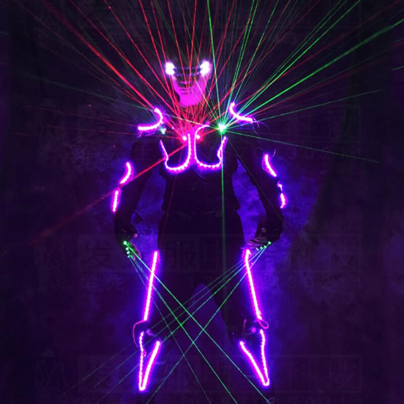 New Arrival LED Armor Light Up Jackets Laser Costume With Glasses Laser Gloves Led Outfit Clothes Led Suit For LED Robot suits