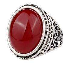 Vintage Class Retro Imitation Agate em Ring Retro Plated Antique Silver Black Stone Mosa Red Ring For Women