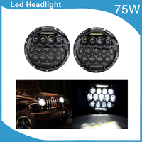2 Pcs 75W 7 Round H4 Plug DRL HIGH LOW Beam LED Headlights SUV Motorcycle Trucks