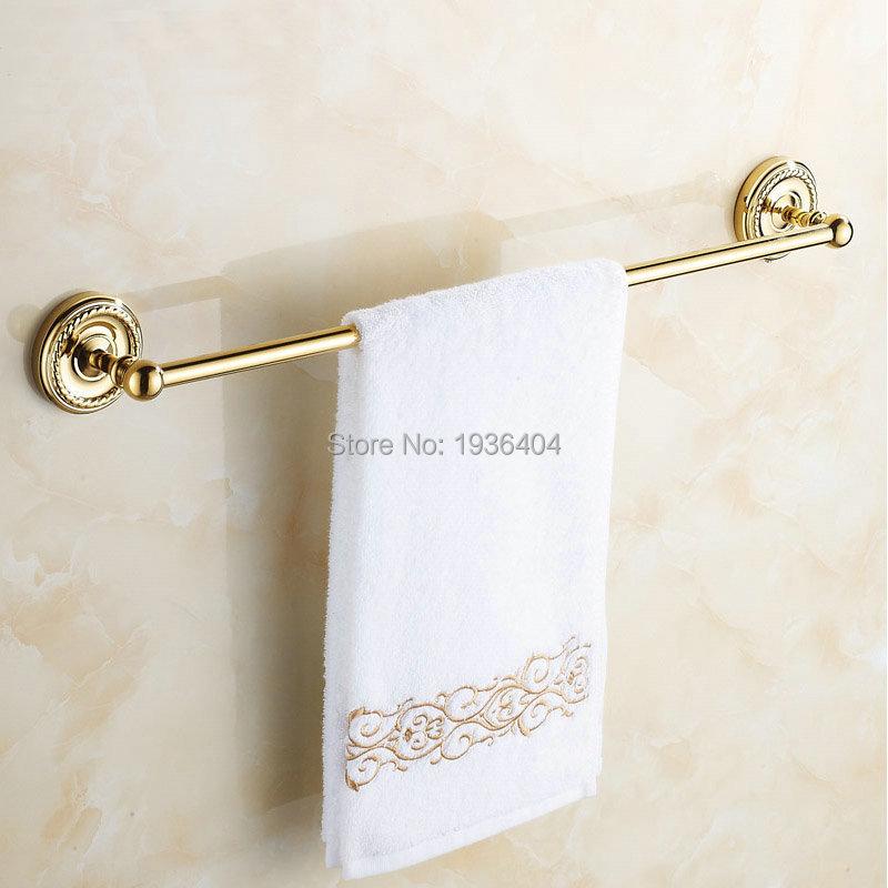 Luxury Euro Romantic Golden Finish Antique Brass Bathroom Towel Racks Single Towel Rack Wall Mounted Towel Shelf TR1004