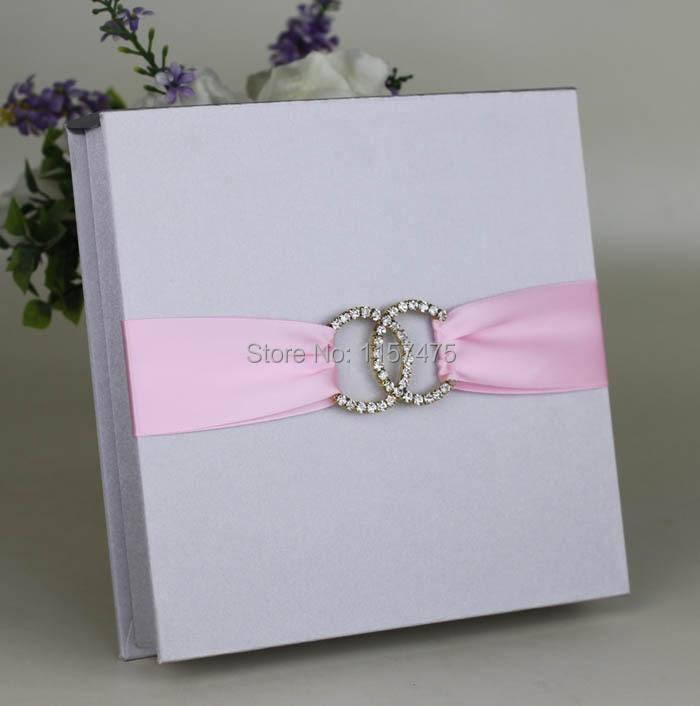 HI2005 Silver / Dark Blue Silk Wedding Invitation Box with Ribbon ...