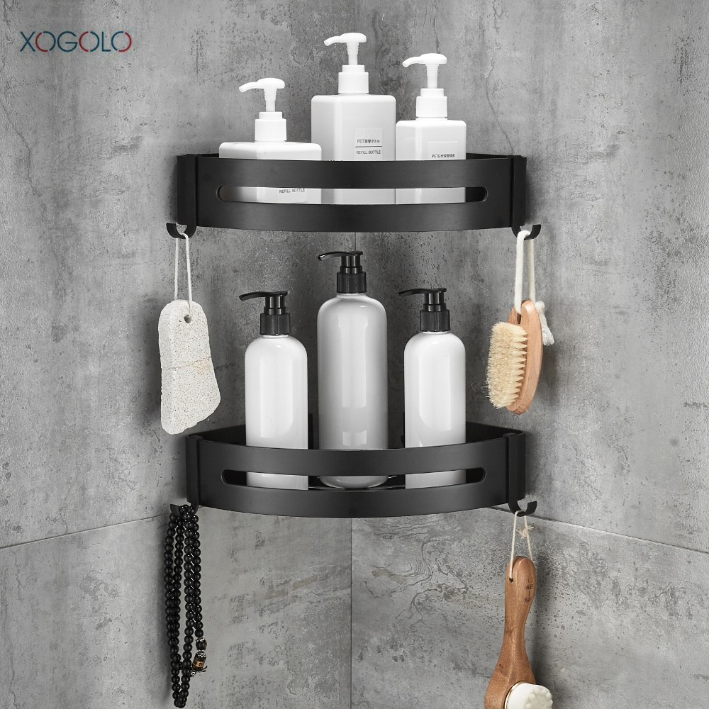 XOGOLO 2 Tier Black Bathroom Shower Shelf Triangle Wall Shower Caddy ...
