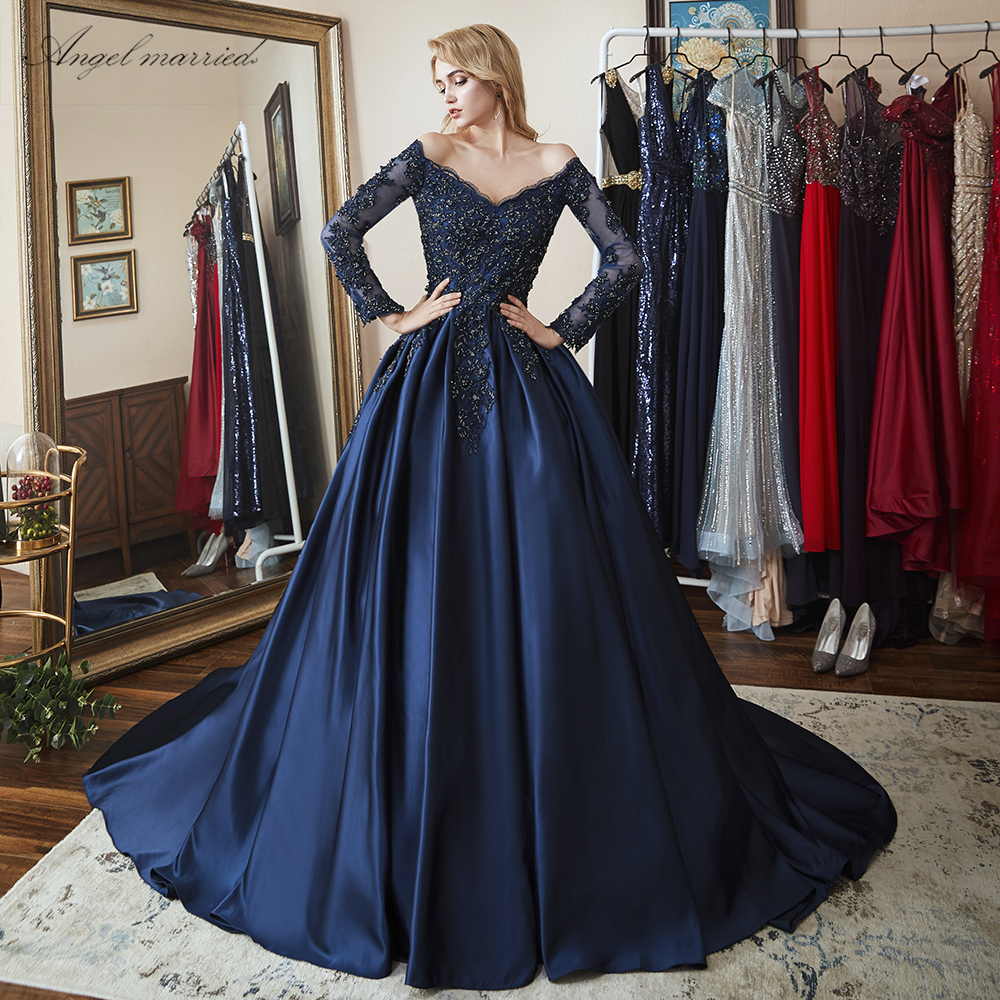 Angel married in stock elegant Evening Dresses navy blue  prom gowns applqiues lace mother of bride dress vestido de festa 2019(China)