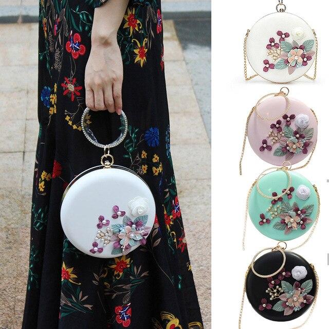 2018 Moda Rodada de Mini Bolsa Handmade Flores Pulseira Cadeias de Embreagem Noite Saco Pequeno Saco Crossbody Saco Do Partido Mensageiro