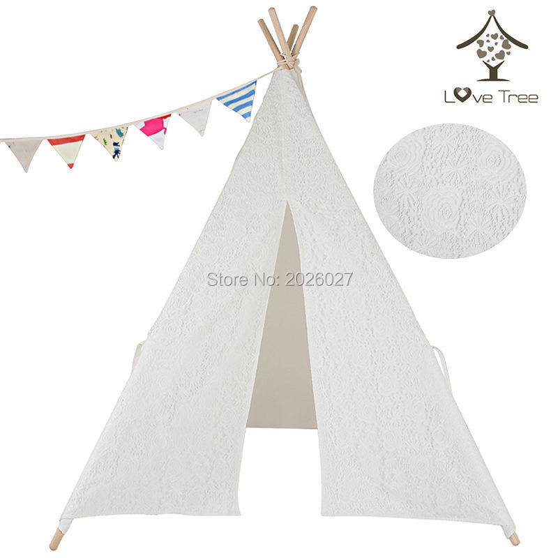 Love Tree Children Indian Teepee Lace tent Cotton Canvas Teepee Kids Tent toy tent free shipping kid tent indian teepee tents