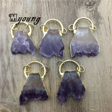 Nature Amethysts Slice Pendant,Purple Crystal Quartz Charms With Pure Gold loop For DIY Jewelry  MY2029